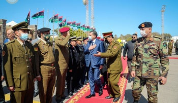 Libya's Prime Minister Abdulhamid Dbeibeh is welcomed upon his arrival in Tripoli, Libya.