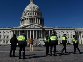 US Capitol police officers patrol the US Capitol grounds in Washington, D.C., earlier this month.
