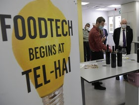 President Reuven Rivlin visits the Tel-Hai Academic College food-tech center, a month ago.