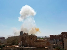Saudi-led airstrikes on an army base in Sanaa, Yemen, this month