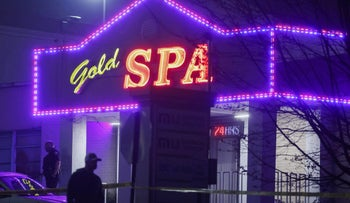 City of Atlanta police officers are seen outside of Gold Spa after deadly shootings at a massage parlor and two day spas in the Atlanta area, in Atlanta, Georgia