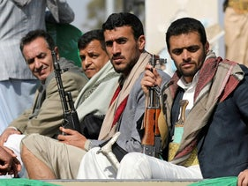 Armed Houthi followers after attending a funeral for fighters in Sanaa, Yemen, last month.