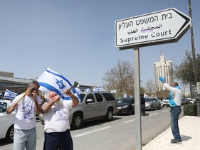 Protesters outside the Supreme Court in Jerusalem last year.