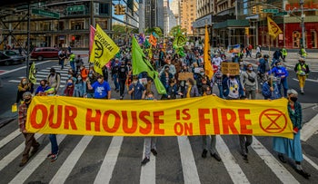 A coalition of climate, Indigenous and racial justice groups gathered in New York to kick off Climate Week with the Climate Justice Through Racial Justice march.