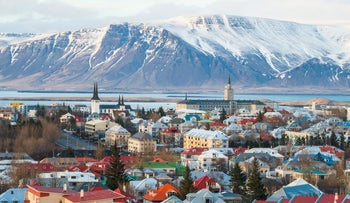 An aerial view of Reykjavik, the capital city of Iceland.