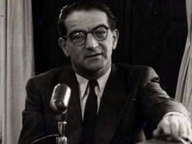 Rudolf Kasztner speaking at Israel Radio in the early 1950s.