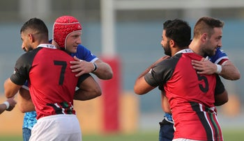 UAE and Israel rugby players in Dubai, United Arab Emirates, yesterday.