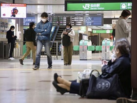 Train services are suspended following an earthquake in Sendai, Miyagi prefecture, today.