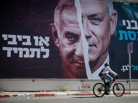 A Kahol Lavan campaign poster reads 'It's Benny in the Knesset, or Bibi forever,' this week
