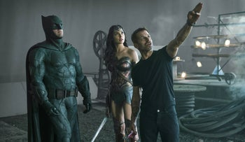 "Zack Snyder on the set of ""Justice League"" with Ben Affleck and Gal Gadot."