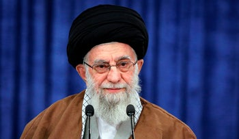 Iranian Supreme Leader Ayatollah Ali Khamenei delivers a message for the Iranian New Year in Iran, yesterday.