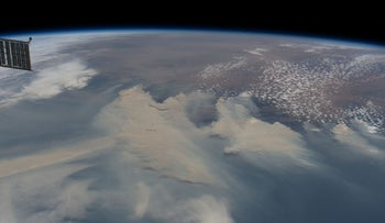 An ISS image of the smoke produced from the bushfires in Australia, at an altitude of 424 kilometers last year.