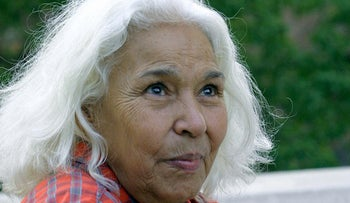 Nawal Saadawi at a meeting called by the Union of Egyptian Writers in Cairo to express solidarity with her after lawsuit for 'insulting' Islam, in 2001.