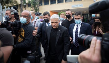 Yesh Atid party leader Yair Lapid on Election Day.