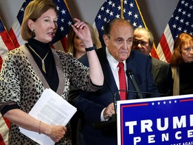 Sidney Powell, an attorney later disavowed by the Trump campaign, participates in a news conference with U.S. President Donald Trump's personal lawyer Rudy Giuliani at the Republican National Committee headquarters on Capitol Hill in Washington, U.S. November