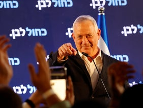 Benny Gantz addresses supporters after the Election Day exit polls were released