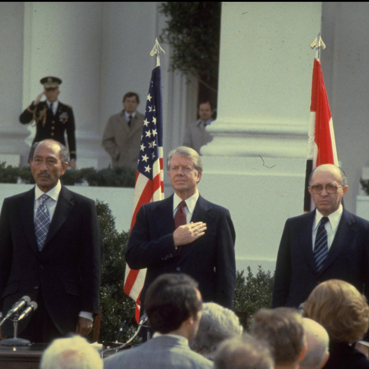 Anwar Sadat, Jimmy Carter and Menachem Begin at the signing of the Israeli-Egyptian peace agreement, March 26, 1979.
