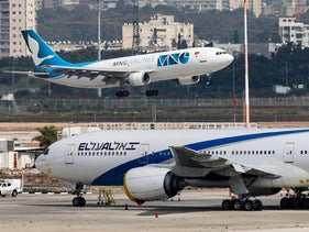 An Israeli El Al Boeing 787-8 Dreamliner aircraft on the tarmac at Ben-Gurion Airport two weeks ago.