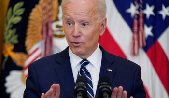 President Joe Biden speaks during a news conference in the East Room of the White House, March 2021.
