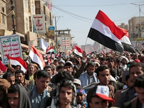 Houthi supporters attend a rally marking six years for a Saudi-led coalition in Sanaa, Yemen, earlier this week