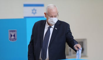 President Reuven Rivlin casting his ballot in Israel's March 23 election, last week.