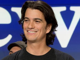 Adam Neumann, co-founder and CEO of WeWork, attends the opening bell ceremony at Nasdaq, in New York, 2018.