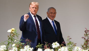 Then President Donald Trump with Prime Minister Benjamin Netanyahu at the signing of the Abraham Accords at the White House in September.