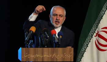 Iran's Foreign Minister Mohammad Javad Zarif addresses in a conference in Tehran, Iran, in February,