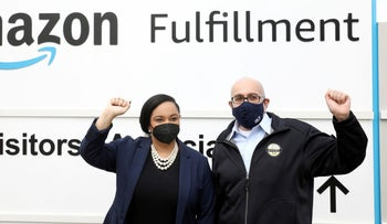 U.S. Rep. Nikema Williams and RWDSU President Stuart Appelbaum at the entrance to Amazon's fulfillment center in Bessemer, Alabama, earlier this month.