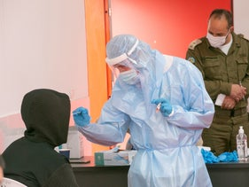 A coronavirus testing center in the Israeli Arab town of Tayibe, this month.