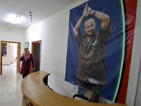 A poster of Marwan Barghouti in an office in Ramallah, in March.