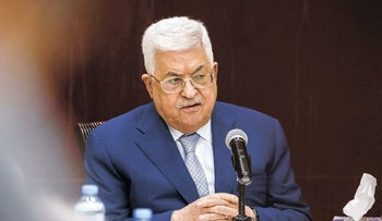Mahmoud Abbas chairs a meeting of the PLO Executive Committee in Ramallah, in 2019.
