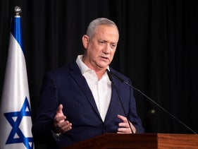 Acting Justice Minister Benny Gantz calls on Mendelblit to examine Netanyahu's fitness to lead in a speech in Ramat Gan, yesterday.