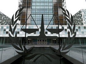 : The International Criminal Court building in The Hague, Netherlands.