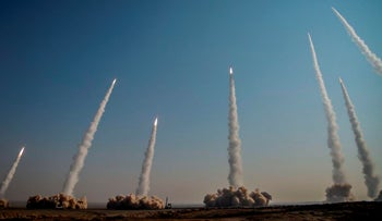 A file photo of missiles launched in a drill in Iran, released by the Iranian Revolutionary Guard in January.