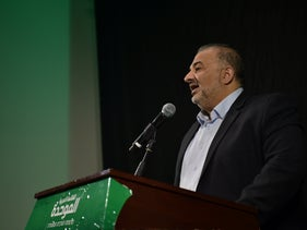 United Arab List leader Mansour Abbas delivering a speech on Thursday.