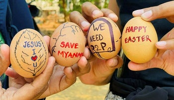 Easter eggs are painted with slogans from the protests against the military coup, in Mandalay, Myanmar April 3, 2021 in this picture obtained by Reuters from social media