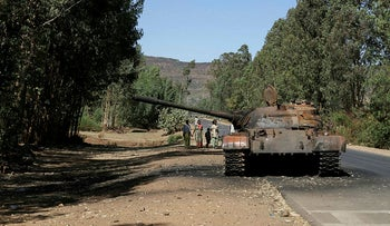 A burned tank stands near the town of Adwa, Tigray region, Ethiopia, March 2021.
