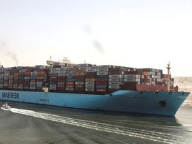 A container ship passes through Suez Canal, Egypt, Tuesday, today.