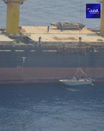 Alleged footage of a suspected Israeli attack on Iranian ship Saviz in the Red Sea.