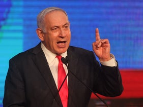 Prime Minister Benjamin Netanyahu on Election Day, last month