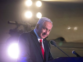 Prime Minister Benjamin Netanyahu speaking at an event in Jaffa on Monday.