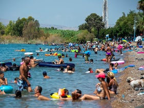 People on vacation in the Sea of Galilee, last year.