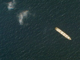 Satellite photo from Planet Labs Inc. shows the Iranian cargo ship MV Saviz in the Red Sea off the coast of Yemen