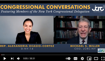 Rep. Alexandria Ocasio-Cortez, D-NY, is interviewed by Michael Miller, head of the Jewish Community Relations Council of New York
