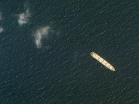 Satellite photo shows the Iranian cargo ship MV Saviz in the Red Sea off the coast of Yemen, last year.