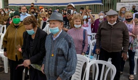 Holocaust survivors attend a Holocaust Remembrance Day ceremony in Haifa, last year.