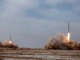 Missiles are launched in a drill in Iran, in January.