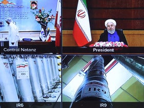 Iranian President Hassan Rohani next to the Natanz centrifuges, in a picture released by his bureau yesterday.