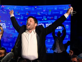 Far-right leader Bezalel Smotrich celebrates after the election's exit polls, last month.